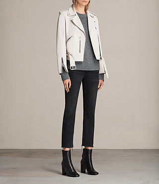 Damen Balfern Leather Biker Jacket (White) - product_image_alt_text_3