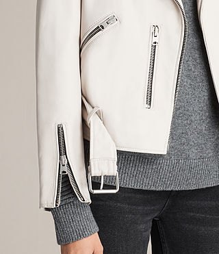 Damen Balfern Leather Biker Jacket (White) - product_image_alt_text_5