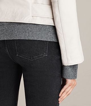 Damen Balfern Leather Biker Jacket (White) - product_image_alt_text_6