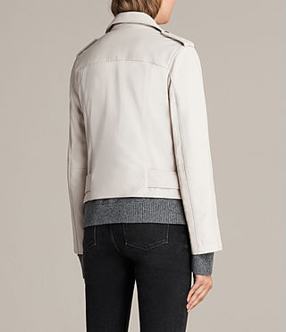 Damen Balfern Leather Biker Jacket (White) - product_image_alt_text_7
