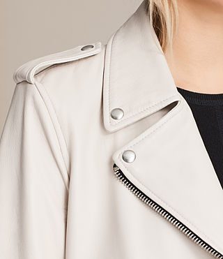 Women's Balfern Leather Biker Jacket (White) - product_image_alt_text_8