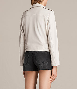 Women's Balfern Leather Biker Jacket (White) - product_image_alt_text_9