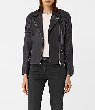 Femmes Armstead Leather Biker Jacket (Black)