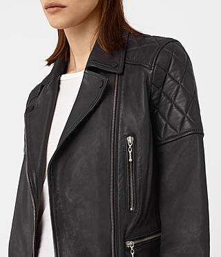 Mujer Armstead Leather Biker Jacket (Black) - product_image_alt_text_3
