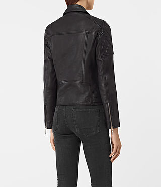 Mujer Armstead Leather Biker Jacket (Black) - product_image_alt_text_4