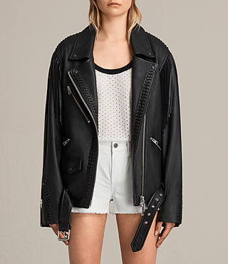 Women's Trevett Oversized Biker Jacket (Black) - Image 1
