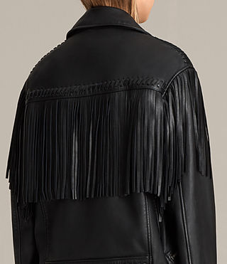 Women's Trevett Oversized Biker Jacket (Black) - Image 2
