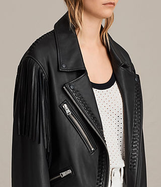 Womens Trevett Oversized Biker Jacket (Black) - Image 5