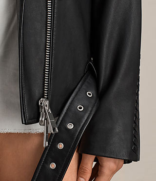 Womens Trevett Oversized Biker Jacket (Black) - Image 6