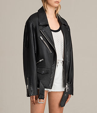 Womens Trevett Oversized Biker Jacket (Black) - Image 7
