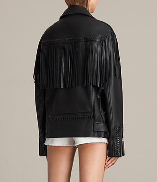Womens Trevett Oversized Biker Jacket (Black) - Image 8