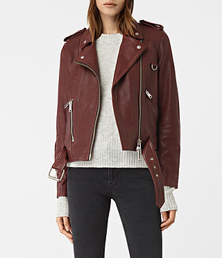 Damen Gidley Leather Biker Jacket (BORDEAUX RED) -