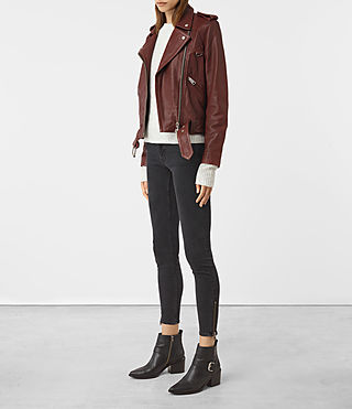 Womens Gidley Leather Biker Jacket (BORDEAUX RED) - product_image_alt_text_2