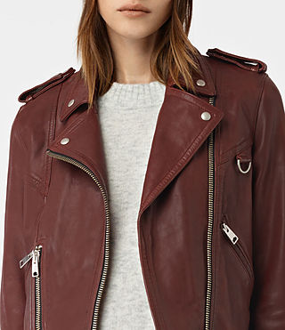 Womens Gidley Leather Biker Jacket (BORDEAUX RED) - product_image_alt_text_3