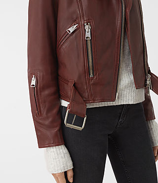 Women's Gidley Leather Biker Jacket (BORDEAUX RED) - product_image_alt_text_4