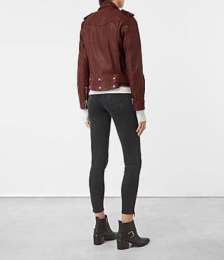 Women's Gidley Leather Biker Jacket (BORDEAUX RED) - product_image_alt_text_5
