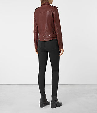 Womens Gidley Leather Biker Jacket (BORDEAUX RED) - product_image_alt_text_6