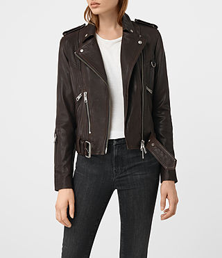 Femmes Gidley Leather Biker Jacket (Oxblood)