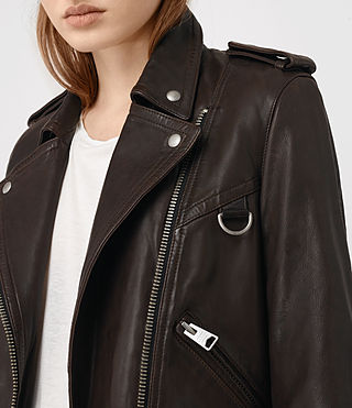 Damen Gidley Leather Biker Jacket (Oxblood) - product_image_alt_text_2