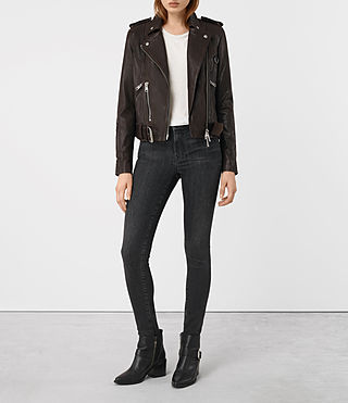 Womens Gidley Leather Biker Jacket (Oxblood) - product_image_alt_text_3
