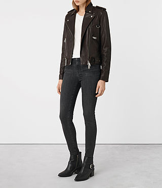 Womens Gidley Leather Biker Jacket (Oxblood) - product_image_alt_text_5