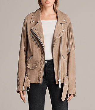 Womens Trevett Oversized Biker Jacket (Light Sand) - product_image_alt_text_1