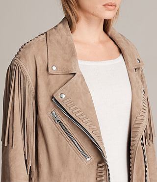 Womens Trevett Oversized Biker Jacket (Light Sand) - product_image_alt_text_2