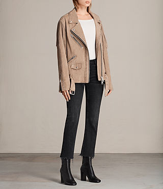 Womens Trevett Oversized Biker Jacket (Light Sand) - product_image_alt_text_3