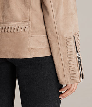 Womens Trevett Oversized Biker Jacket (Light Sand) - product_image_alt_text_5