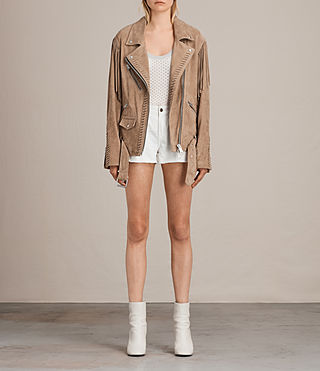 Women's Trevett Oversized Biker Jacket (Light Sand) - product_image_alt_text_7