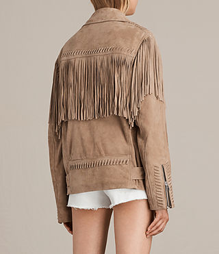 Women's Trevett Oversized Biker Jacket (Light Sand) - product_image_alt_text_8