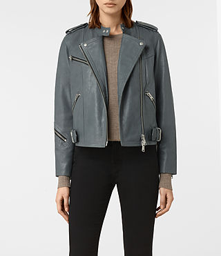 Womens Atkinson Leather Biker Jacket (SLATE BLUE)