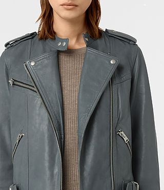 Women's Atkinson Leather Biker Jacket (SLATE BLUE) - product_image_alt_text_3