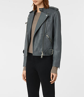 Women's Atkinson Leather Biker Jacket (SLATE BLUE) - product_image_alt_text_5