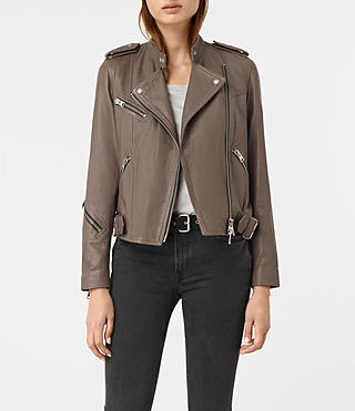 Femmes Atkinson Leather Biker Jacket (BATTLE BROWN)