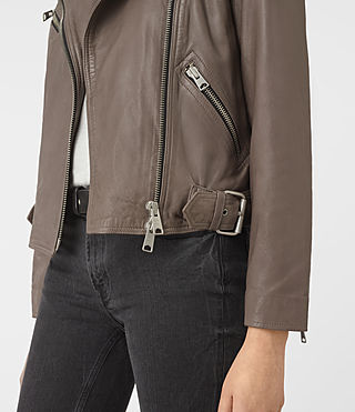 Women's Atkinson Leather Biker Jacket (BATTLE BROWN) - product_image_alt_text_3
