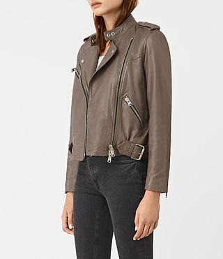 Women's Atkinson Leather Biker Jacket (BATTLE BROWN) - product_image_alt_text_4