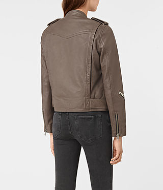 Women's Atkinson Leather Biker Jacket (BATTLE BROWN) - product_image_alt_text_5