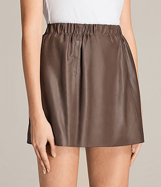 Damen Suko Leather Skirt (BATTLE BROWN) - product_image_alt_text_2