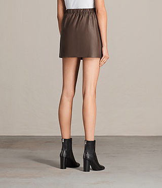 Damen Suko Leather Skirt (BATTLE BROWN) - product_image_alt_text_4