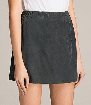 Damen Suko Suede Skirt (Petrol Blue) - product_image_alt_text_2