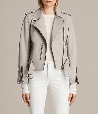 Damen Balfern Leather Biker Jacket (Light Grey) -