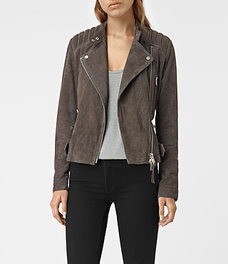 Womens Kerr Suede Biker Jacket (GRANITE GREY)