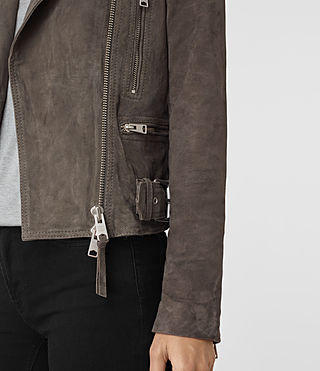 Womens Kerr Suede Biker Jacket (GRANITE GREY) - product_image_alt_text_2