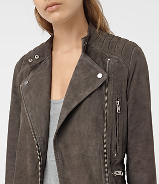 Womens Kerr Suede Biker Jacket (GRANITE GREY) - product_image_alt_text_4