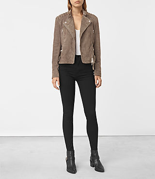 Womens Kerr Suede Biker Jacket (Mushroom) - product_image_alt_text_1