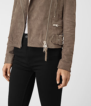 Womens Kerr Suede Biker Jacket (Mushroom) - product_image_alt_text_2