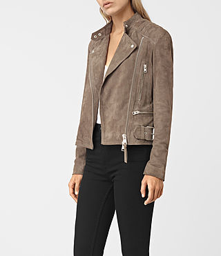 Womens Kerr Suede Biker Jacket (Mushroom) - product_image_alt_text_3