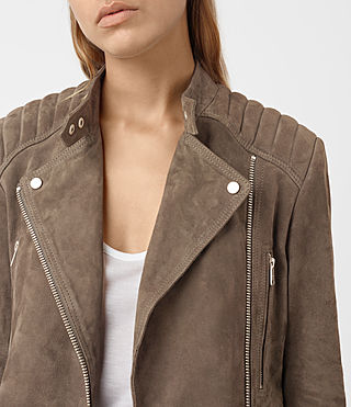 Womens Kerr Suede Biker Jacket (Mushroom) - product_image_alt_text_4