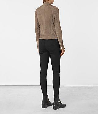Womens Kerr Suede Biker Jacket (Mushroom) - product_image_alt_text_5